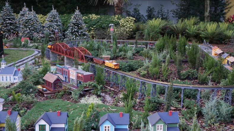 There was a very neat model train display in the area.